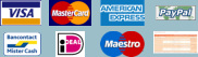 Paypal, Visa, MasterCard, American Express, Bankcontact, iDeal, Maestro, overschrijving